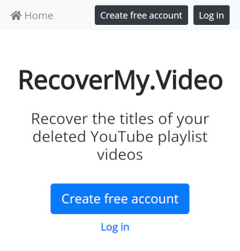 RecoverMy.Video homepage with 'create account' button