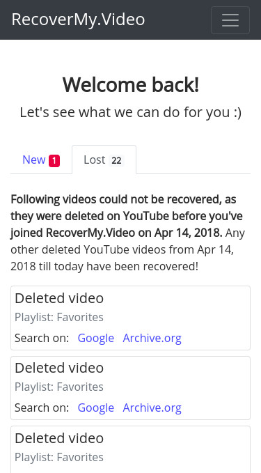Initially deleted YouTube videos