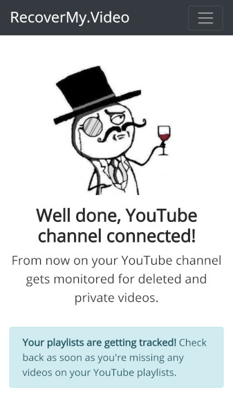 YouTube channel connected to RecoverMy.Video